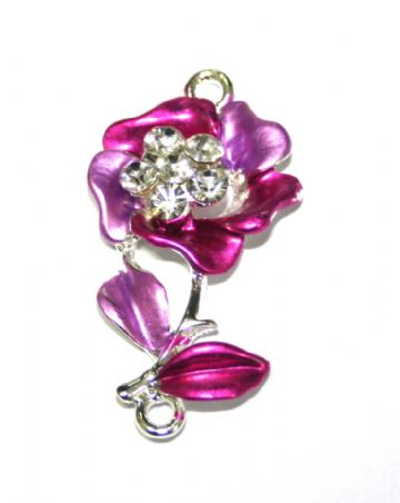 1pce x 34mm*19mm Pink flower with leaves connector -  enameled alloy charm with rhinestones